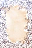 Quadro quadrado das folhas de outono Em uma textura do grunge vertical Fotos de Stock Royalty Free
