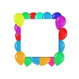 Quadro quadrado de balões coloridos ao estilo do realismo para projetar sobre cartões, aniversários, casamentos, convites da fest Fotos de Stock Royalty Free