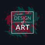 Quadro quadrado do vetor com fundo da escova de pintura e projeto do texto da arte Cor verde da tampa abstrata e vermelha gráfica Foto de Stock