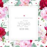 Quadro quadrado floral romântico do projeto do vetor com peônia, lírio do alstroemeria, eucaliptus da hortelã no branco Imagens de Stock Royalty Free