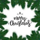 Quadro realístico do Natal com abeto Tipografia l do Feliz Natal Imagem de Stock Royalty Free