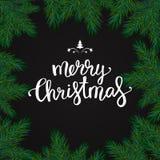 Quadro realístico do Natal com abeto Tipografia l do Feliz Natal Foto de Stock Royalty Free
