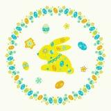 Quadro redondo colorido Páscoa do ovo e do coelho ilustração royalty free