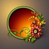 Quadro redondo com arranjo de flores colorido do outono ilustração royalty free