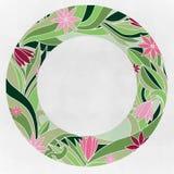 Quadro redondo com flores cor-de-rosa Fotos de Stock Royalty Free