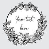 Quadro redondo com flores pintadas Imagens de Stock