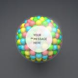 Quadro redondo com lugar para o texto esfera molde do vetor 3d Foto de Stock