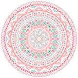 Quadro redondo cor-de-rosa e azul decorativo do teste padrão Imagem de Stock Royalty Free
