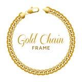 Quadro redondo da beira da corrente do ouro Forma do círculo da grinalda com um fechamento da lagosta fotografia de stock