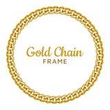 Quadro redondo da beira da corrente dourada Forma sem emenda do círculo da grinalda fotografia de stock