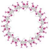 Quadro redondo da cor com flores abstratas Imagem de Stock