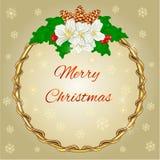Quadro redondo da decoração do Feliz Natal com vetor do jasmim ilustração stock