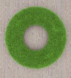 Quadro redondo da grama em um fundo de madeira 3d rendem Fotos de Stock Royalty Free