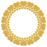 Quadro redondo de corações brilhantes dourados em um fundo branco Foto de Stock Royalty Free