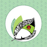 Quadro redondo decorativo com folha Fotografia de Stock Royalty Free