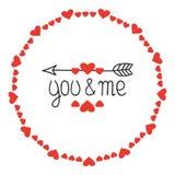 Quadro redondo do coração Você e mim Crachás românticos das etiquetas Elemento decorativo desenhado mão Frase do amor Coração let ilustração royalty free