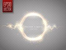 Quadro redondo do fulgor dourado com descarga elétrica Ilustração do vetor Imagens de Stock