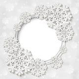 Quadro redondo do inverno branco brilhante do vetor com decoração do floco de neve fotos de stock