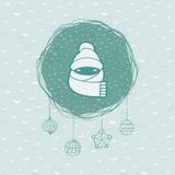 Quadro redondo do Natal e do ano novo com símbolo da criança ano novo feliz 2007 Imagem de Stock