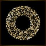 Quadro redondo do ouro no fundo preto Decoração floral do vetor feita das formas do redemoinho Cumprimento, cartão do convite ilustração royalty free
