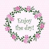 Quadro redondo do vetor com rosas da aquarela Teste padrão floral Fotos de Stock