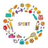Quadro redondo do vetor dos ícones da garatuja do esporte ilustração royalty free