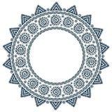 Quadro redondo do vetor tribal ornamentado do grunge da mandala do sol do estilo Imagem de Stock