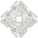 Quadro redondo do vintage com flores Imagens de Stock Royalty Free