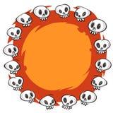 Quadro redondo dos crânios dos desenhos animados no fundo branco Fotos de Stock Royalty Free
