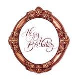 Quadro redondo dourado isolado no fundo branco com feliz aniversario do texto Rotulação da caligrafia Fotos de Stock Royalty Free