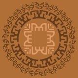 Quadro redondo largo decorativo com teste padrão étnico Elementos isolados decorativos tribais, beira, etiqueta para o texto Ilus Imagens de Stock