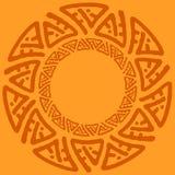 Quadro redondo largo decorativo com teste padrão étnico Elementos isolados decorativos tribais, beira, etiqueta para o texto Ilus Imagem de Stock Royalty Free