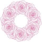 Quadro redondo no fundo cor-de-rosa linear Imagem de Stock