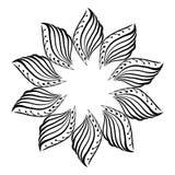 Quadro redondo, ornamento floral, flor, ilustração do vetor
