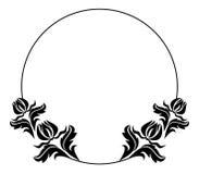 Quadro redondo preto e branco com silhuetas das flores Foto de Stock