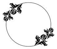 Quadro redondo preto e branco com silhuetas das flores Fotos de Stock