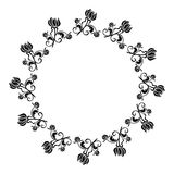 Quadro redondo preto e branco com silhuetas das flores Fotos de Stock Royalty Free