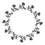 Quadro redondo preto e branco com silhuetas das flores Imagens de Stock Royalty Free