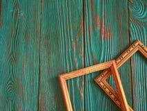 Quadro retangular com espaço da cópia, em um fundo de madeira autêntico bonito Imagem de Stock
