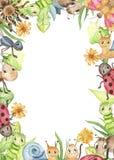 Quadro retangular da aquarela com os insetos bonitos dos desenhos animados ilustração stock