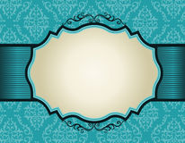 Quadro retro do convite no fundo do teste padrão do damasco