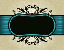 Quadro retro do convite no fundo do teste padrão do damasco Imagens de Stock Royalty Free