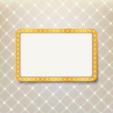 Quadro retro dourado com as ampolas no fundo real do teste padrão Fotografia de Stock Royalty Free