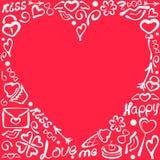Quadro romântico com elementos do amor Imagens de Stock Royalty Free
