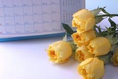Quadro Rosa amarela e calendário Imagens de Stock