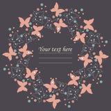 Quadro roxo elegante com borboletas bonitos, flores e corações Fotografia de Stock