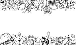 Quadro tirado mão do esboço do vetor com ilustração do esboço com alimento, sanduíches, bebidas do álcool e do café, sobremesas e ilustração stock