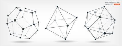 Quadro transparente de formas complexas Poliedros Formas geométricas abstraia o fundo Linhas e pontos Geometria Multidimensional ilustração do vetor