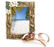 Quadro tropical com praia imagens de stock royalty free
