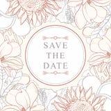 Quadro tropical das flores para o convite do casamento isolado no fundo branco ilustração stock